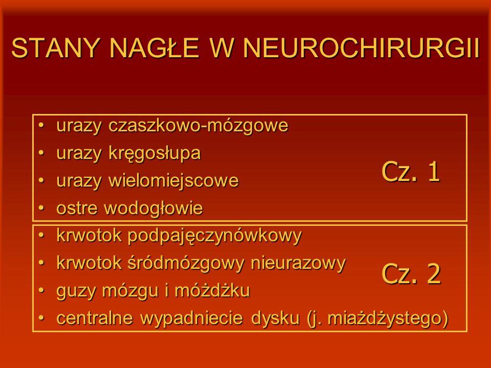 STANY NAGŁE W NEUROCHIRURGII