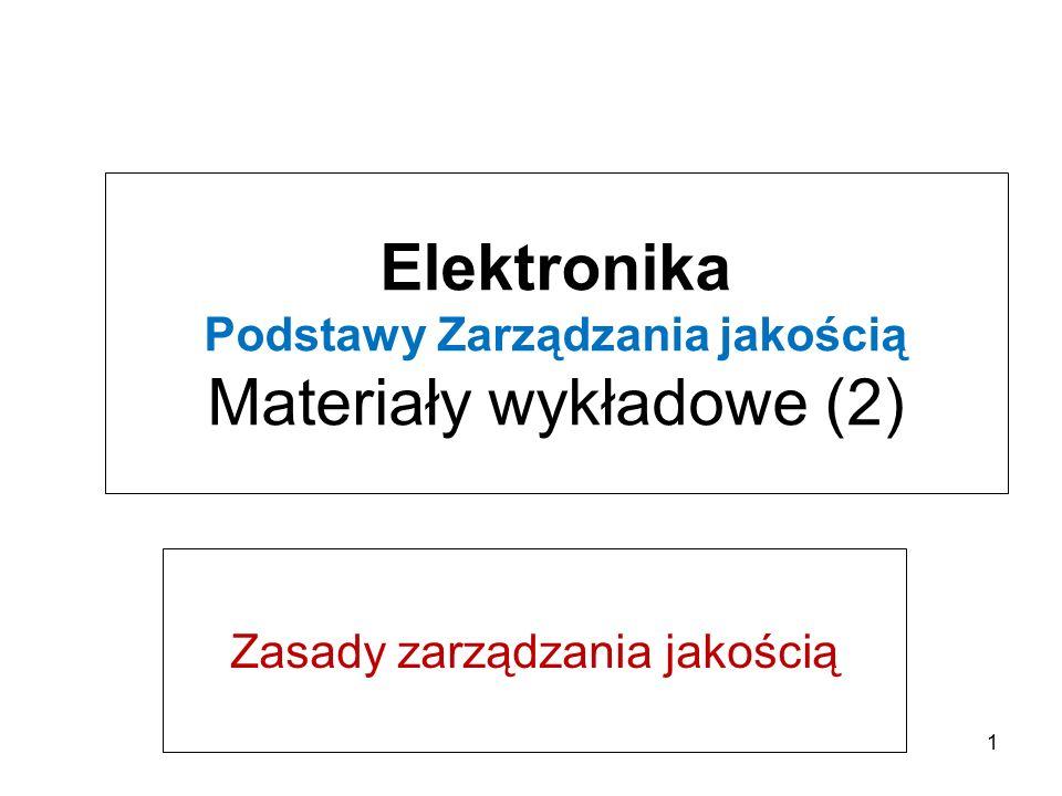 Elektronika Podstawy Zarządzania jakością Materiały wykładowe (2)