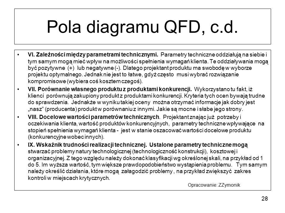 Pola diagramu QFD, c.d.