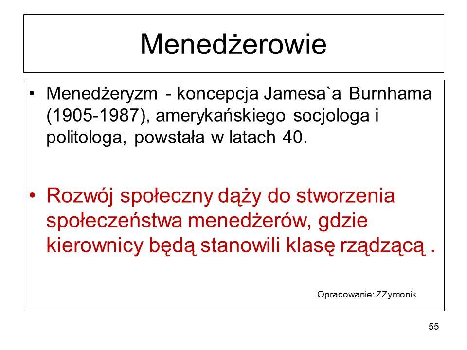 Menedżerowie Menedżeryzm - koncepcja Jamesa`a Burnhama (1905-1987), amerykańskiego socjologa i politologa, powstała w latach 40.