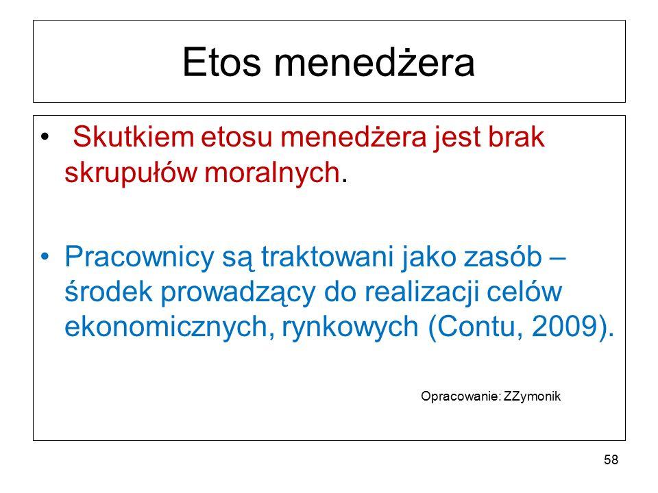 Etos menedżera Skutkiem etosu menedżera jest brak skrupułów moralnych.