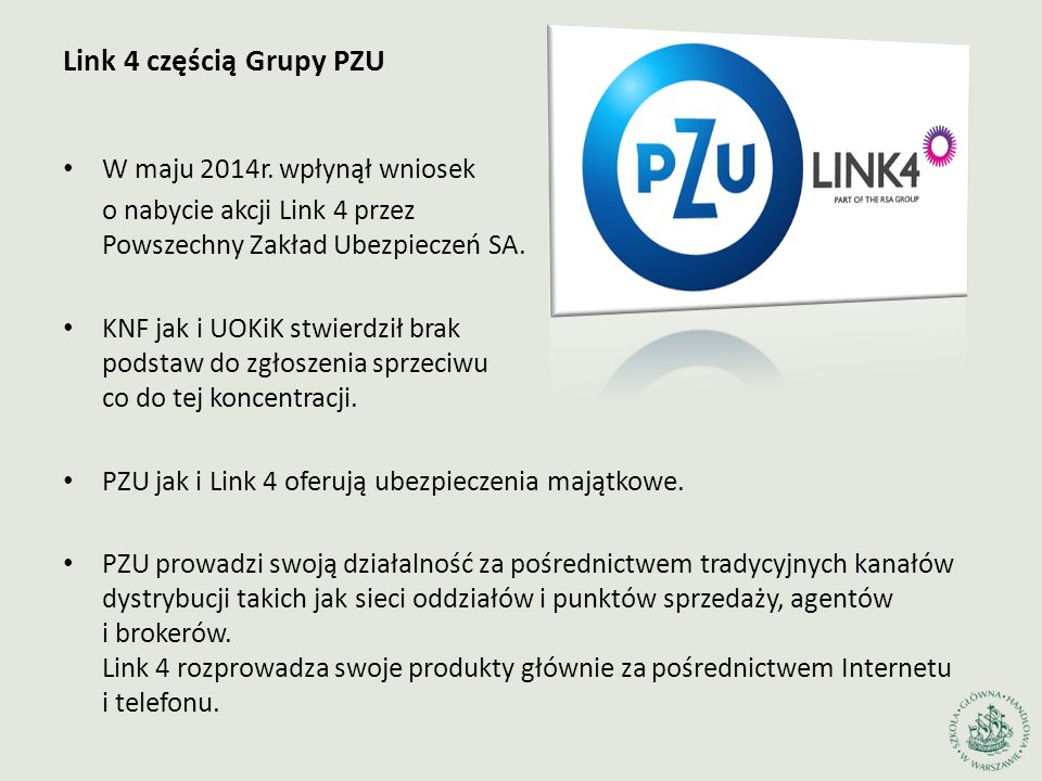 Link 4 częścią Grupy PZU W maju 2014r. wpłynął wniosek