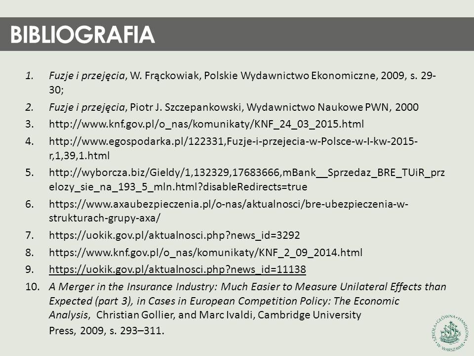 BIBLIOGRAFIA Fuzje i przejęcia, W. Frąckowiak, Polskie Wydawnictwo Ekonomiczne, 2009, s. 29-30;