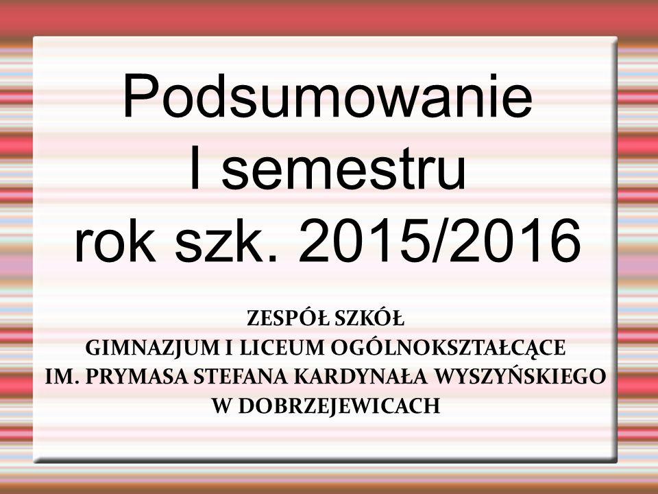 Podsumowanie I semestru rok szk. 2015/2016 ZESPÓŁ SZKÓŁ