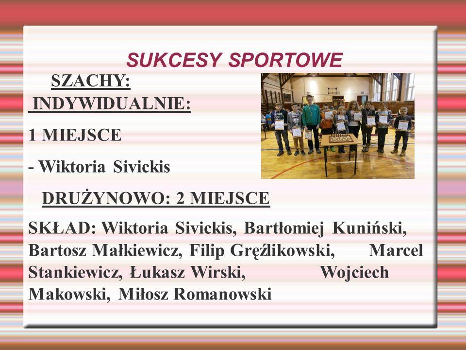 SUKCESY SPORTOWE SZACHY: INDYWIDUALNIE: 1 MIEJSCE - Wiktoria Sivickis