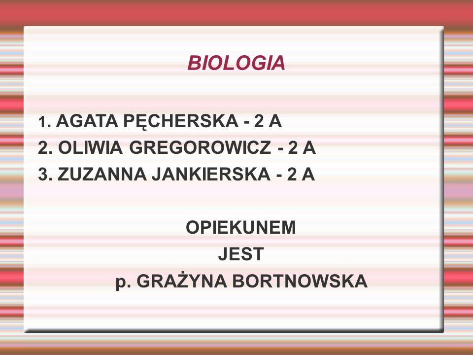 BIOLOGIA 1. AGATA PĘCHERSKA - 2 A 2. OLIWIA GREGOROWICZ - 2 A