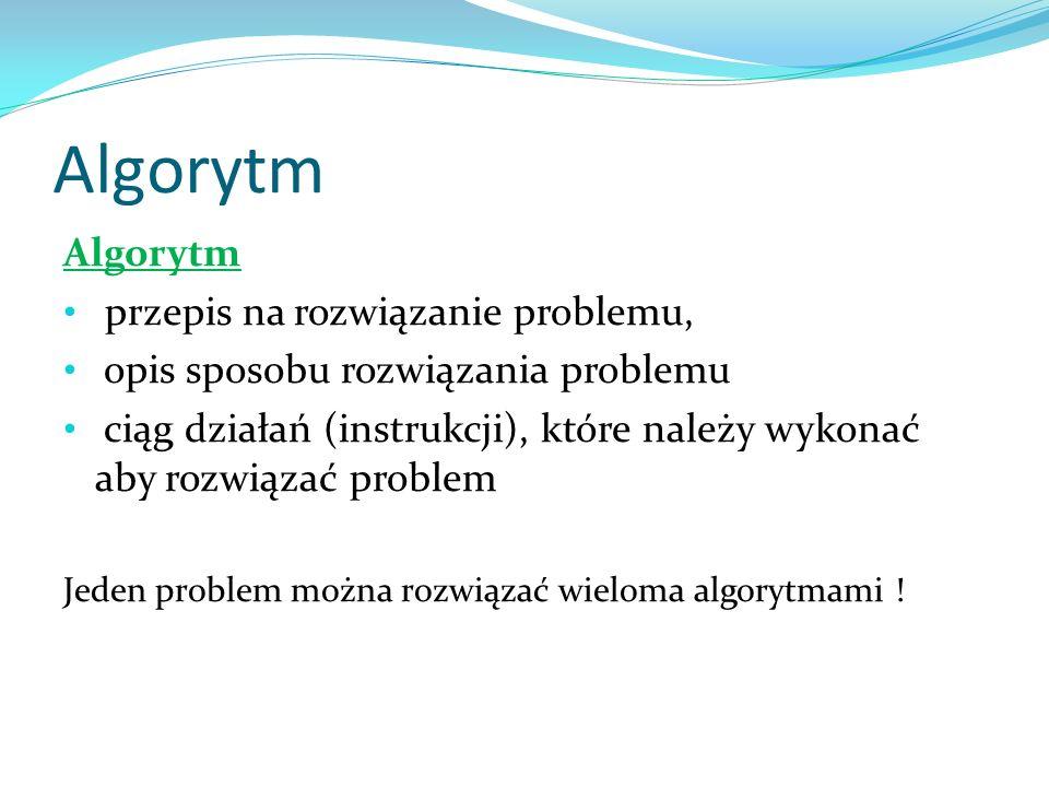 Algorytm Algorytm przepis na rozwiązanie problemu,