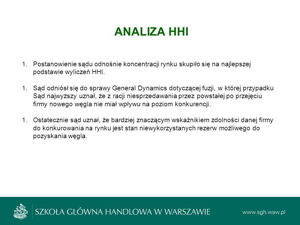 ANALIZA HHI Postanowienie sądu odnośnie koncentracji rynku skupiło się na najlepszej podstawie wyliczeń HHI.