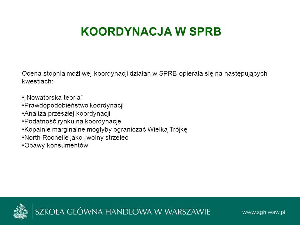 KOORDYNACJA W SPRB Ocena stopnia możliwej koordynacji działań w SPRB opierała się na następujących kwestiach: