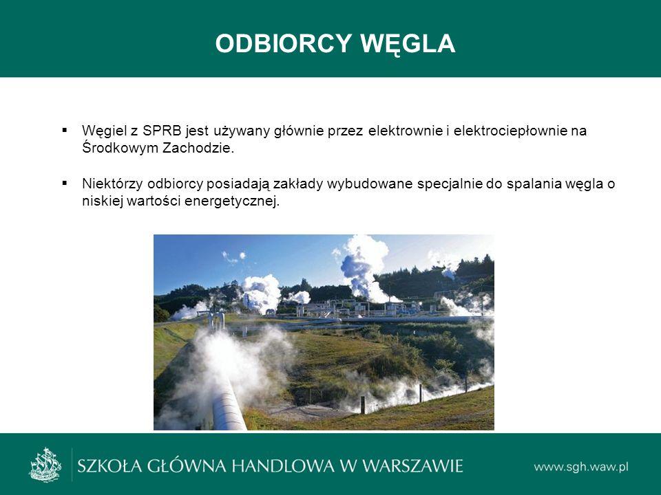 ODBIORCY WĘGLA Węgiel z SPRB jest używany głównie przez elektrownie i elektrociepłownie na Środkowym Zachodzie.