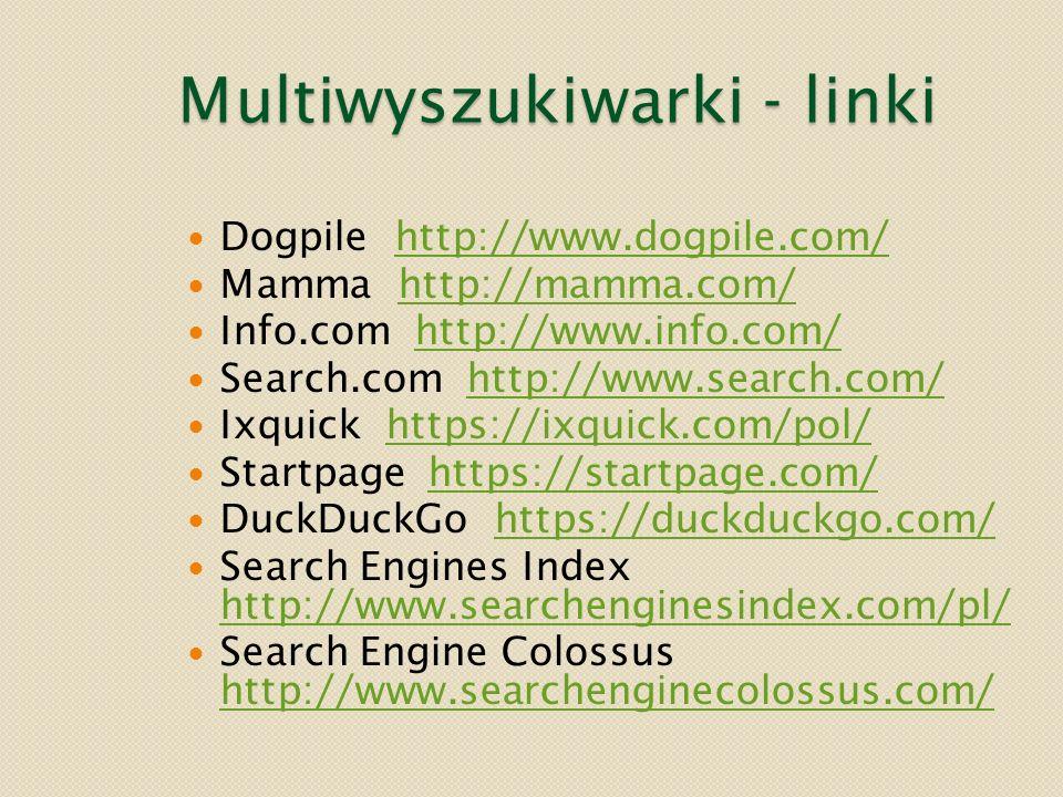 Multiwyszukiwarki - linki