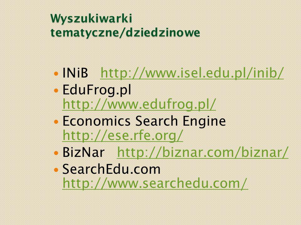 Wyszukiwarki tematyczne/dziedzinowe