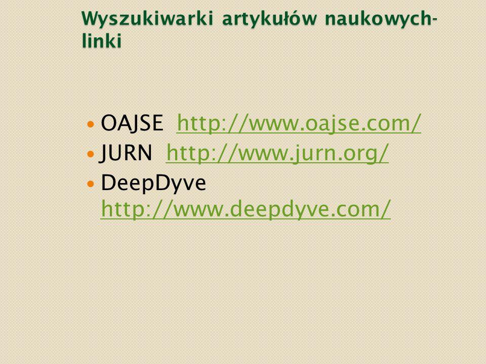 Wyszukiwarki artykułów naukowych- linki