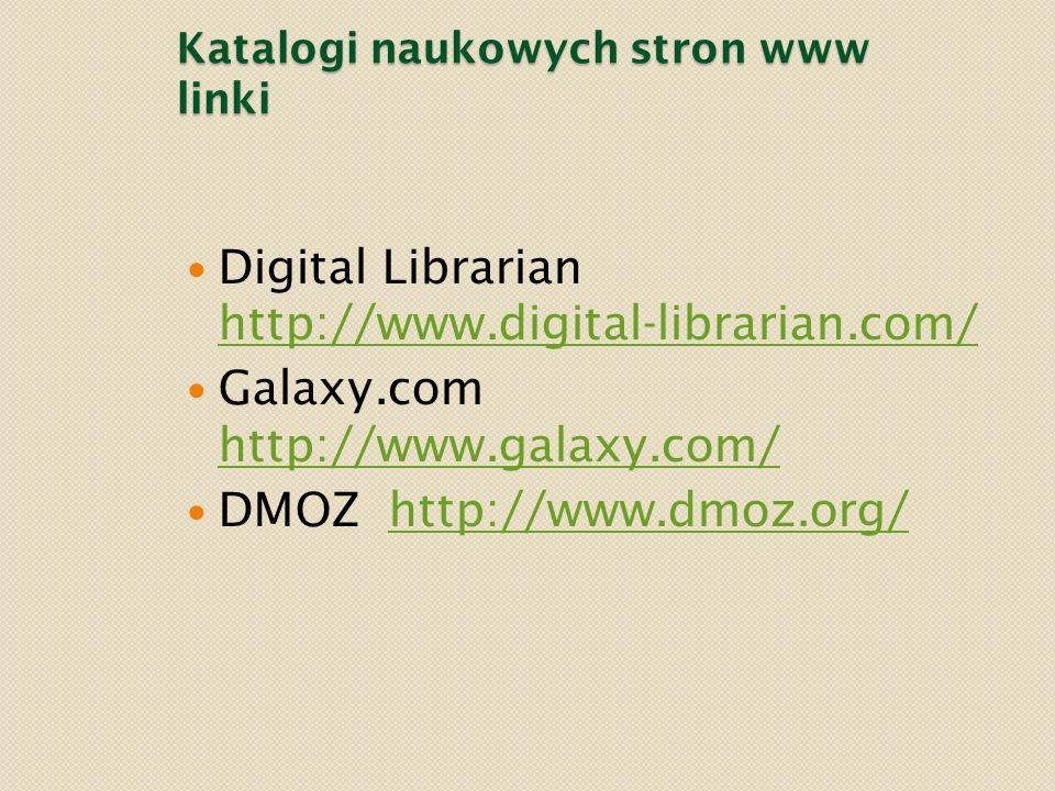 Katalogi naukowych stron www linki