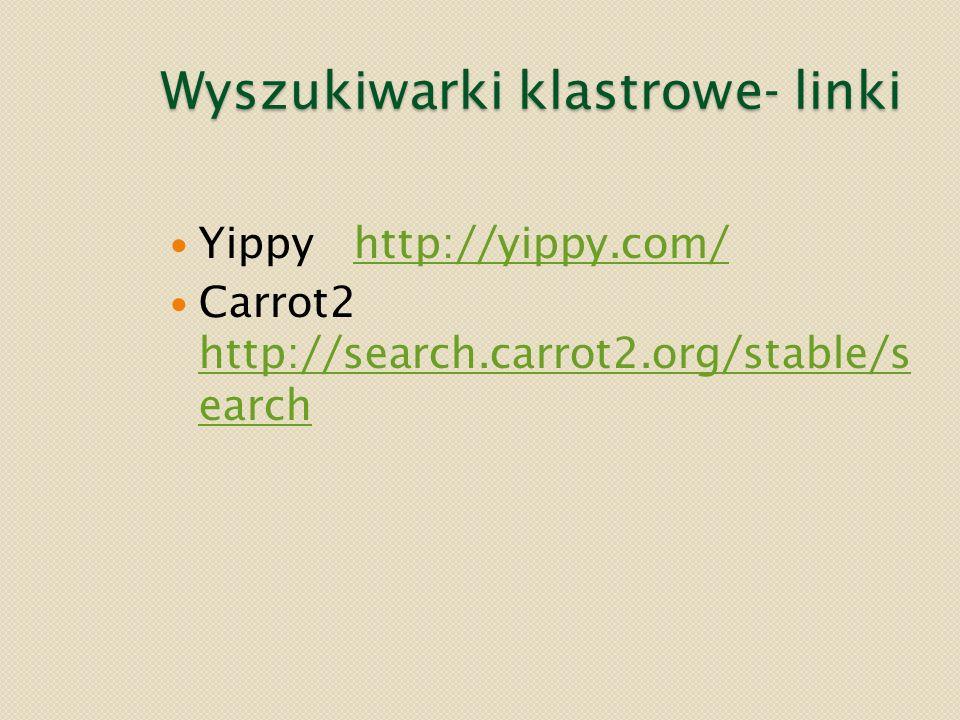 Wyszukiwarki klastrowe- linki