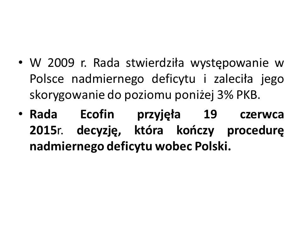 W 2009 r. Rada stwierdziła występowanie w Polsce nadmiernego deficytu i zaleciła jego skorygowanie do poziomu poniżej 3% PKB.