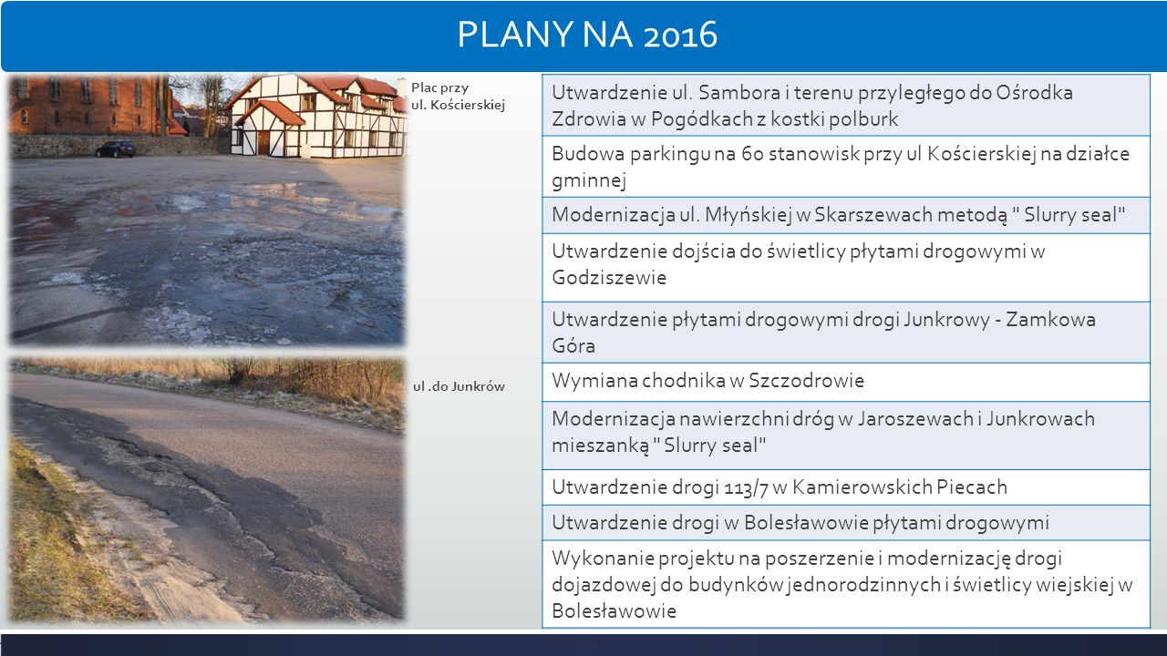 PLANY NA 2016 Plac przy. ul. Kościerskiej. Utwardzenie ul. Sambora i terenu przyległego do Ośrodka Zdrowia w Pogódkach z kostki polburk.