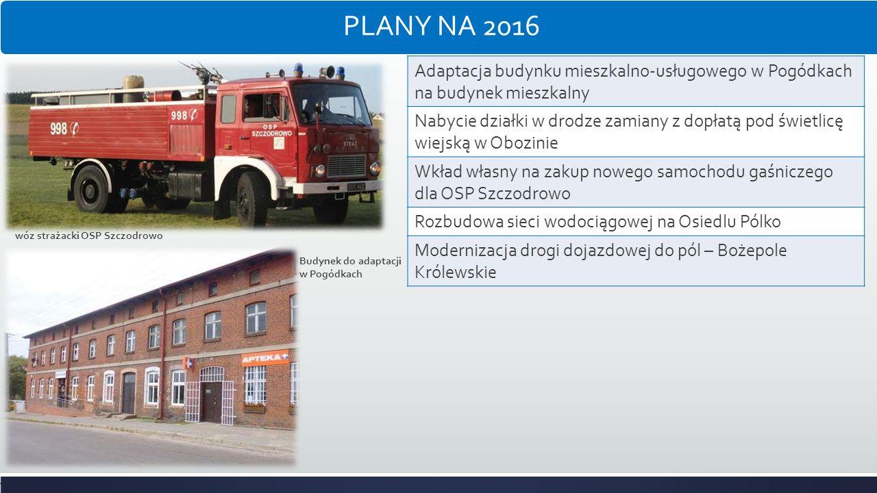 PLANY NA 2016 Adaptacja budynku mieszkalno-usługowego w Pogódkach na budynek mieszkalny.