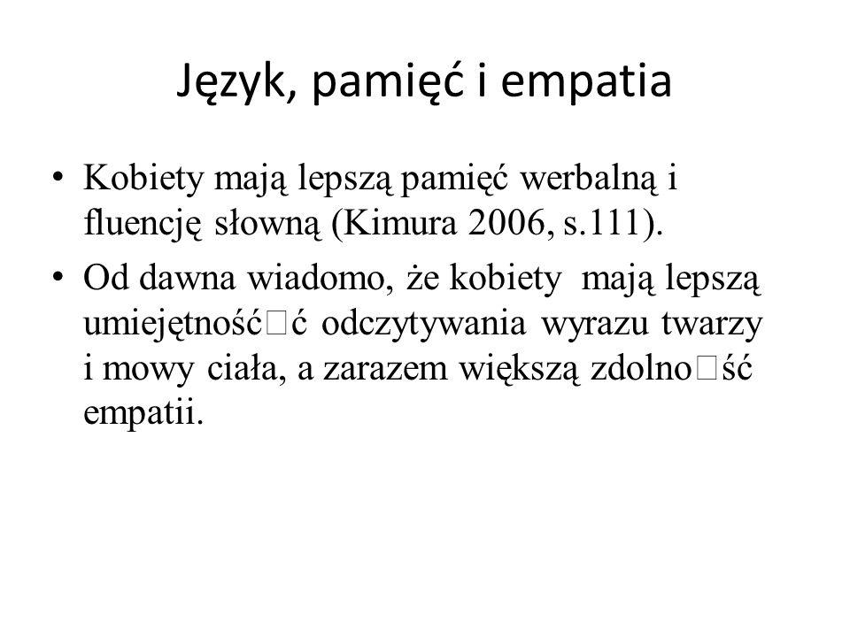 Język, pamięć i empatia Kobiety mają lepszą pamięć werbalną i fluencję słowną (Kimura 2006, s.111).