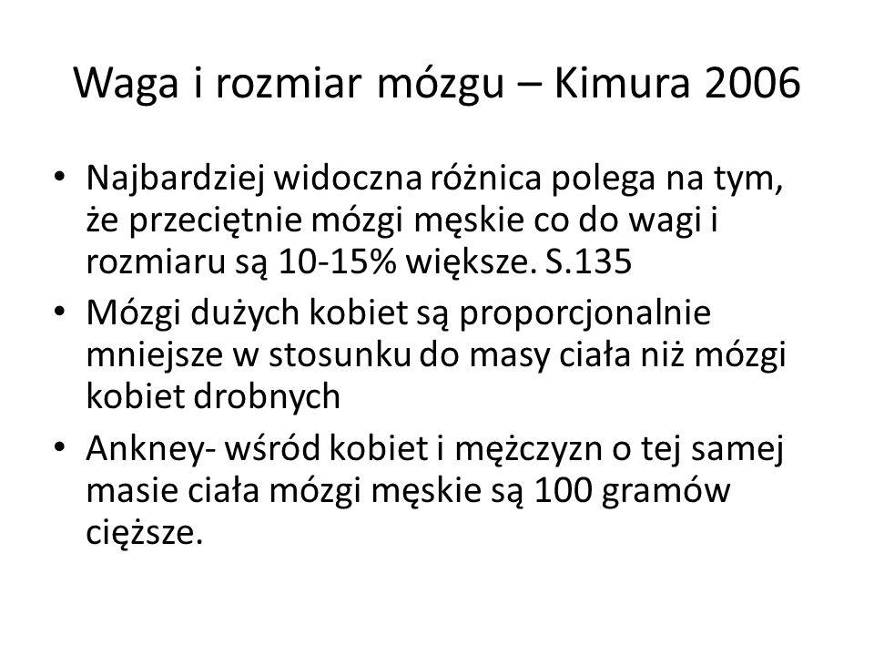 Waga i rozmiar mózgu – Kimura 2006
