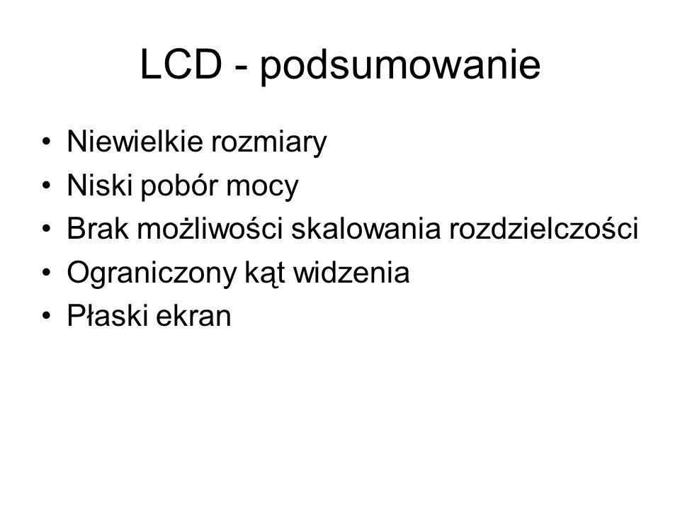 LCD - podsumowanie Niewielkie rozmiary Niski pobór mocy