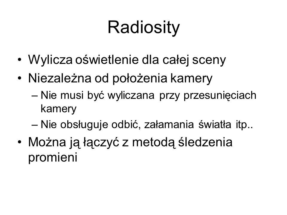 Radiosity Wylicza oświetlenie dla całej sceny