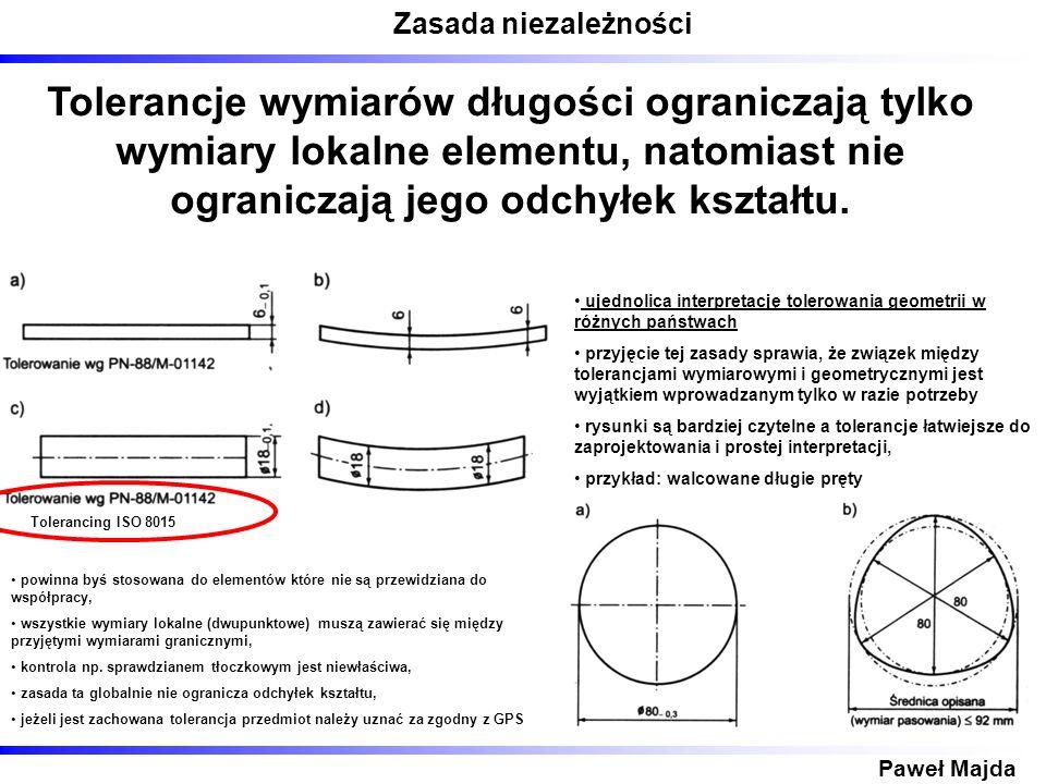 Przykłady wymiarowania elementów wymiarowalnych