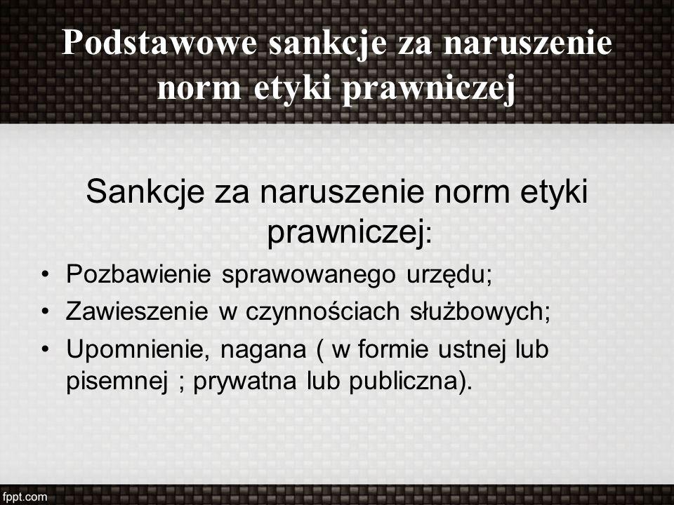 Podstawowe sankcje za naruszenie norm etyki prawniczej