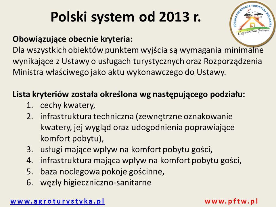 Polski system od 2013 r. Obowiązujące obecnie kryteria: