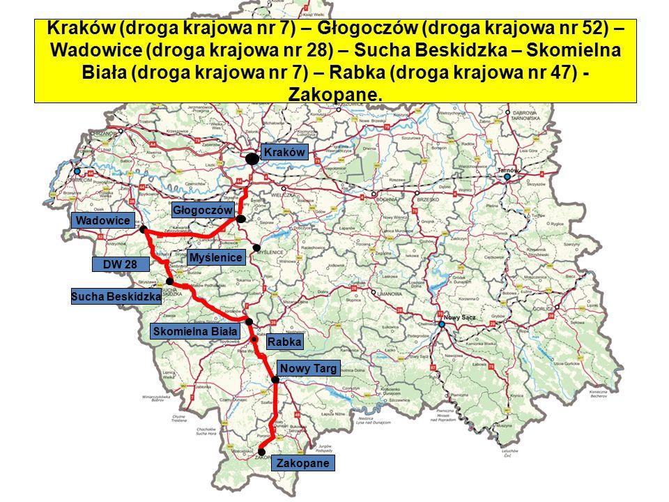 Kraków (droga krajowa nr 7) – Głogoczów (droga krajowa nr 52) – Wadowice (droga krajowa nr 28) – Sucha Beskidzka – Skomielna Biała (droga krajowa nr 7) – Rabka (droga krajowa nr 47) - Zakopane.