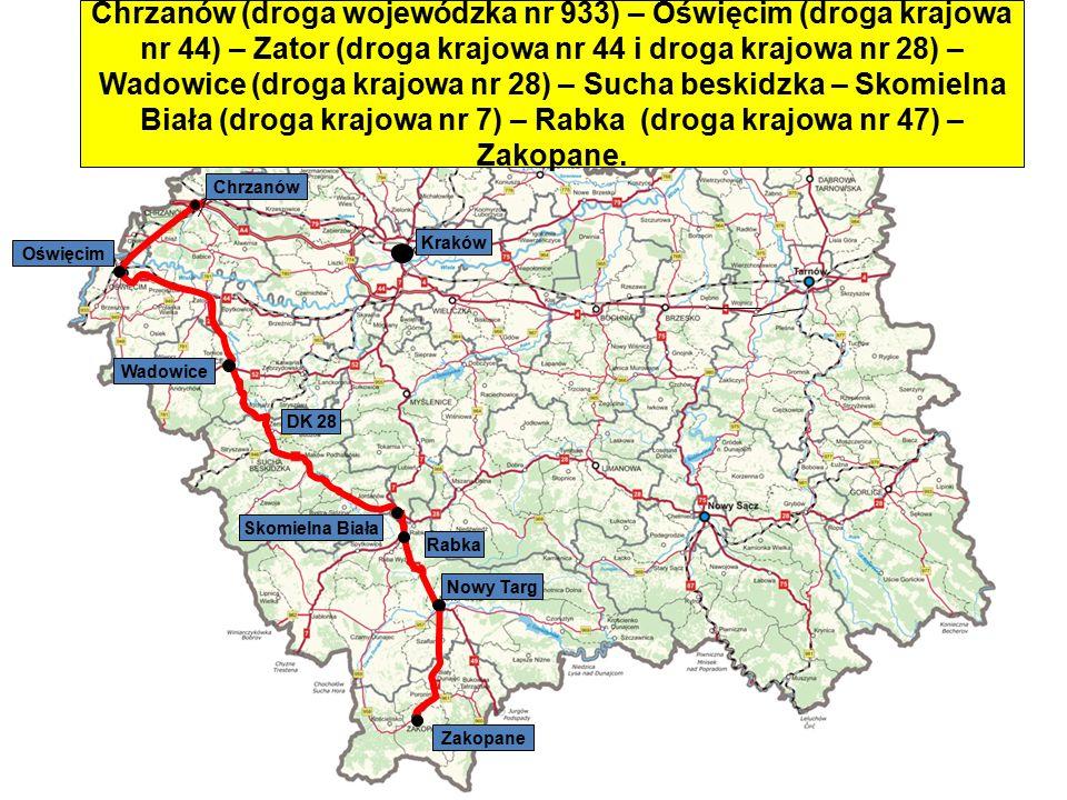 Chrzanów (droga wojewódzka nr 933) – Oświęcim (droga krajowa nr 44) – Zator (droga krajowa nr 44 i droga krajowa nr 28) – Wadowice (droga krajowa nr 28) – Sucha beskidzka – Skomielna Biała (droga krajowa nr 7) – Rabka (droga krajowa nr 47) – Zakopane.