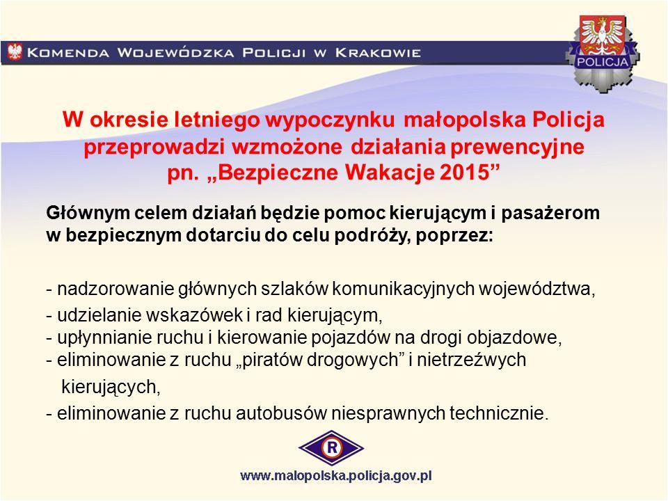"""W okresie letniego wypoczynku małopolska Policja przeprowadzi wzmożone działania prewencyjne pn. """"Bezpieczne Wakacje 2015"""