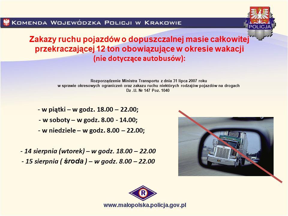 Zakazy ruchu pojazdów o dopuszczalnej masie całkowitej przekraczającej 12 ton obowiązujące w okresie wakacji (nie dotyczące autobusów):