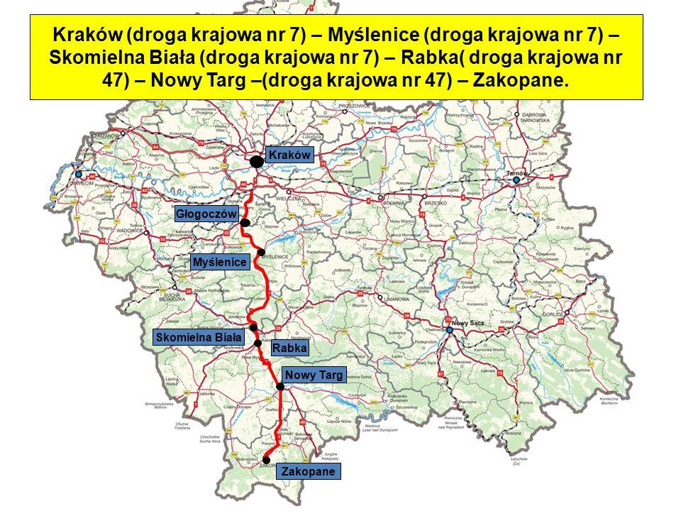 Kraków (droga krajowa nr 7) – Myślenice (droga krajowa nr 7) – Skomielna Biała (droga krajowa nr 7) – Rabka( droga krajowa nr 47) – Nowy Targ –(droga krajowa nr 47) – Zakopane.