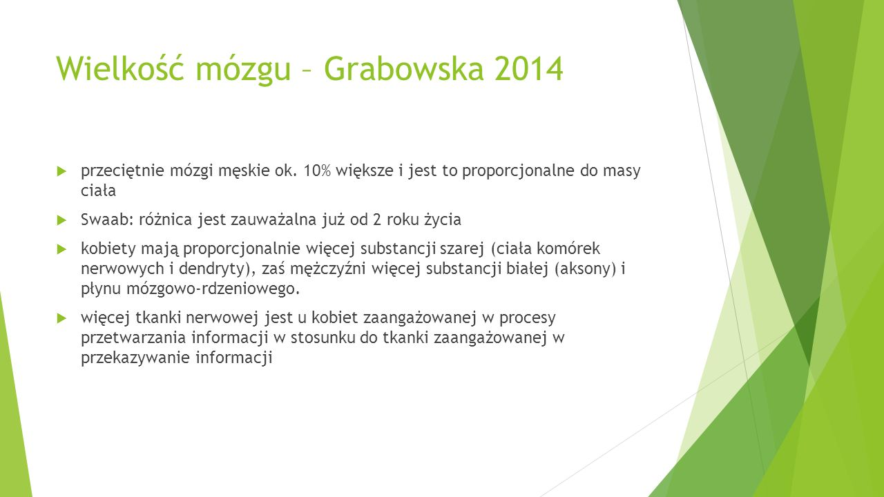 Wielkość mózgu – Grabowska 2014