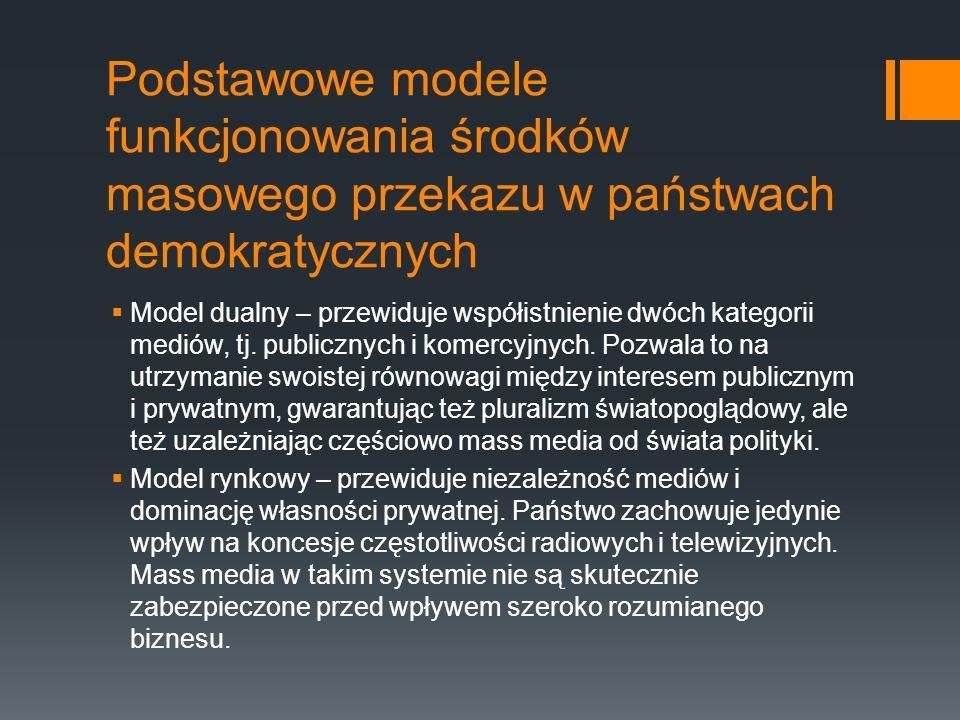 Podstawowe modele funkcjonowania środków masowego przekazu w państwach demokratycznych