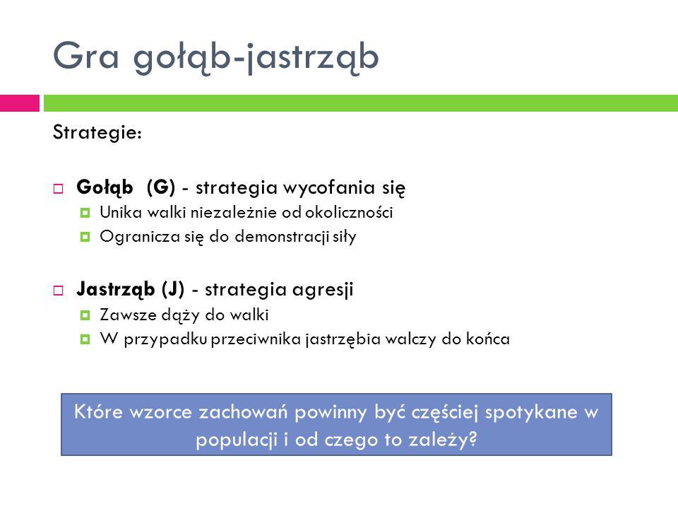 Gra gołąb-jastrząb Strategie: Gołąb (G) - strategia wycofania się