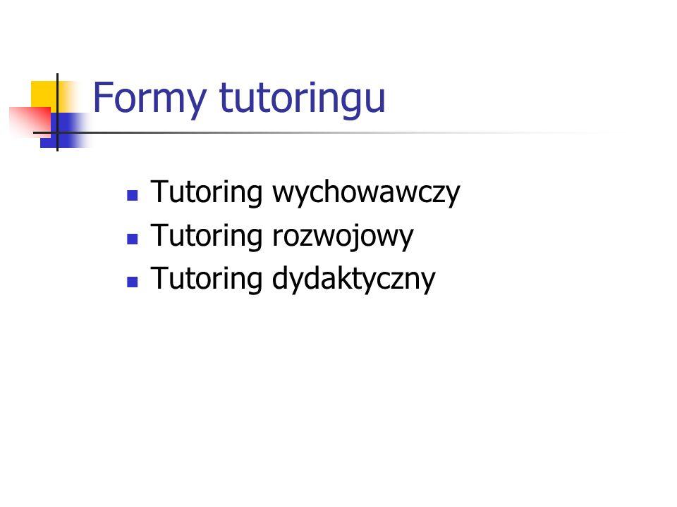 Formy tutoringu Tutoring wychowawczy Tutoring rozwojowy