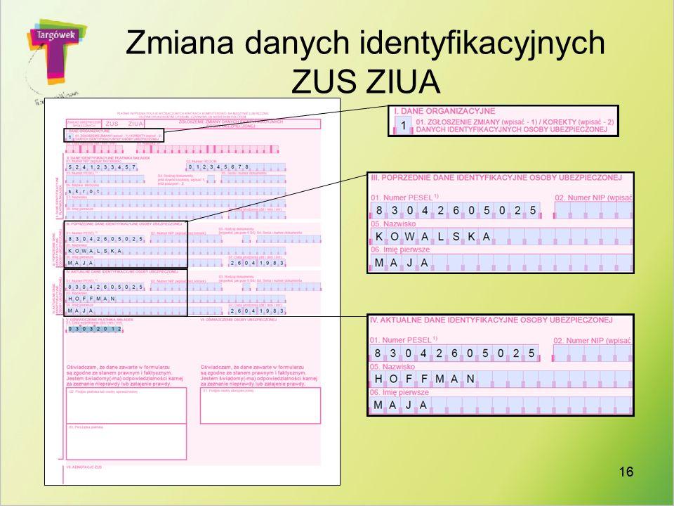 Zmiana danych identyfikacyjnych ZUS ZIUA