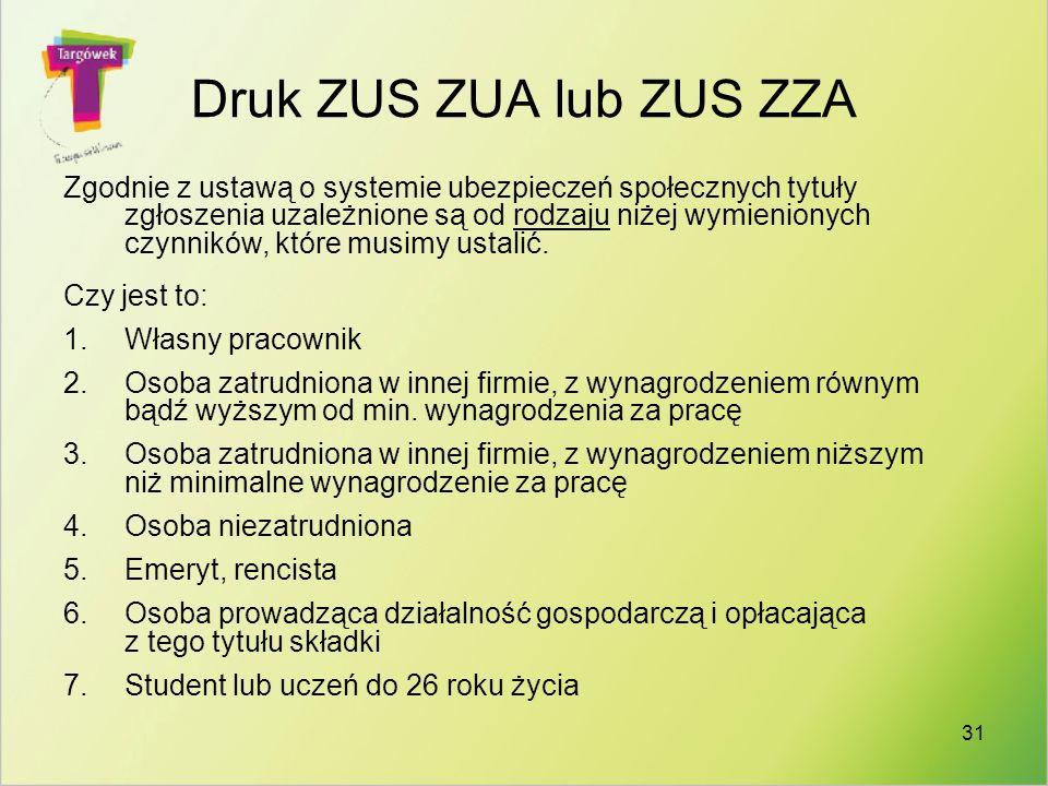 Druk ZUS ZUA lub ZUS ZZA