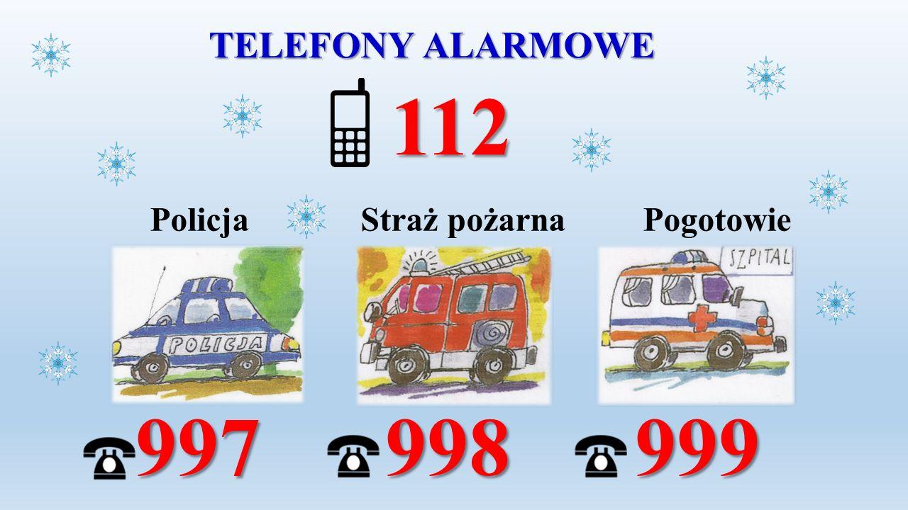 TELEFONY ALARMOWE 112 Policja Straż pożarna Pogotowie 997 998 999