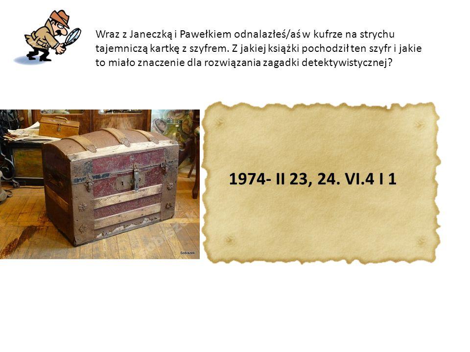 Wraz z Janeczką i Pawełkiem odnalazłeś/aś w kufrze na strychu tajemniczą kartkę z szyfrem. Z jakiej książki pochodził ten szyfr i jakie to miało znaczenie dla rozwiązania zagadki detektywistycznej