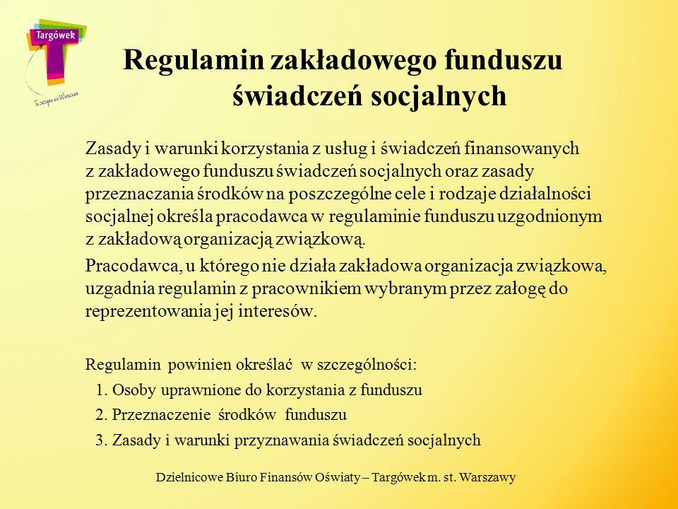 Regulamin zakładowego funduszu świadczeń socjalnych