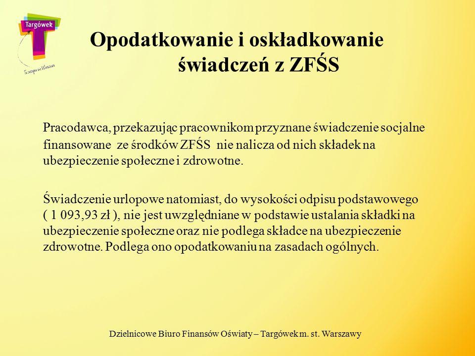 Opodatkowanie i oskładkowanie świadczeń z ZFŚS
