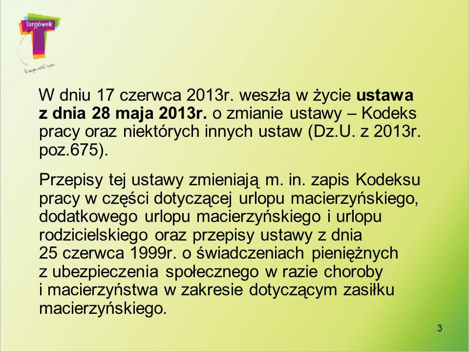 W dniu 17 czerwca 2013r. weszła w życie ustawa z dnia 28 maja 2013r
