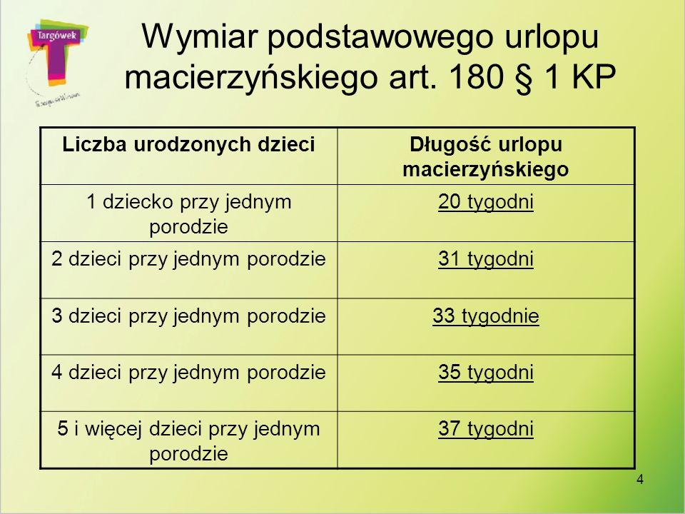 Wymiar podstawowego urlopu macierzyńskiego art. 180 § 1 KP