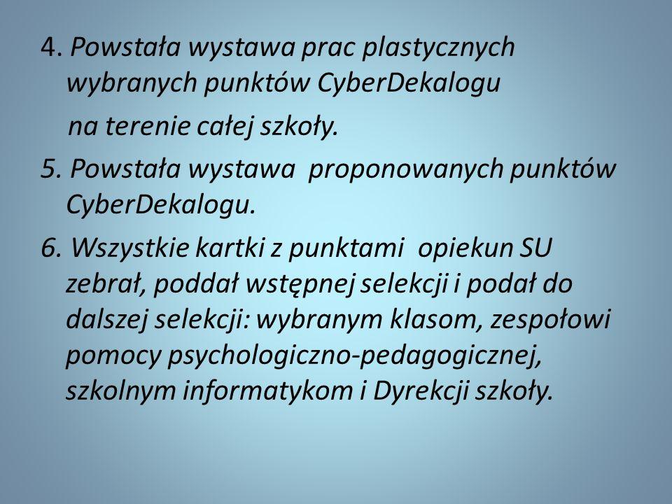 4. Powstała wystawa prac plastycznych wybranych punktów CyberDekalogu na terenie całej szkoły.
