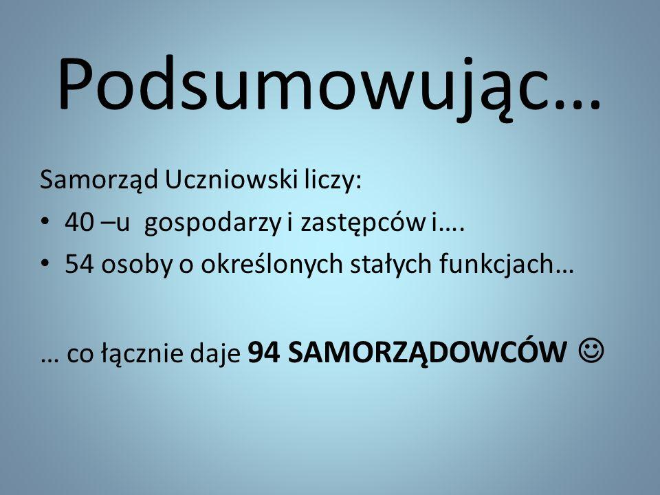 Podsumowując… Samorząd Uczniowski liczy: