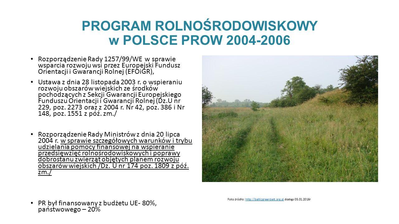 PROGRAM ROLNOŚRODOWISKOWY w POLSCE PROW 2004-2006