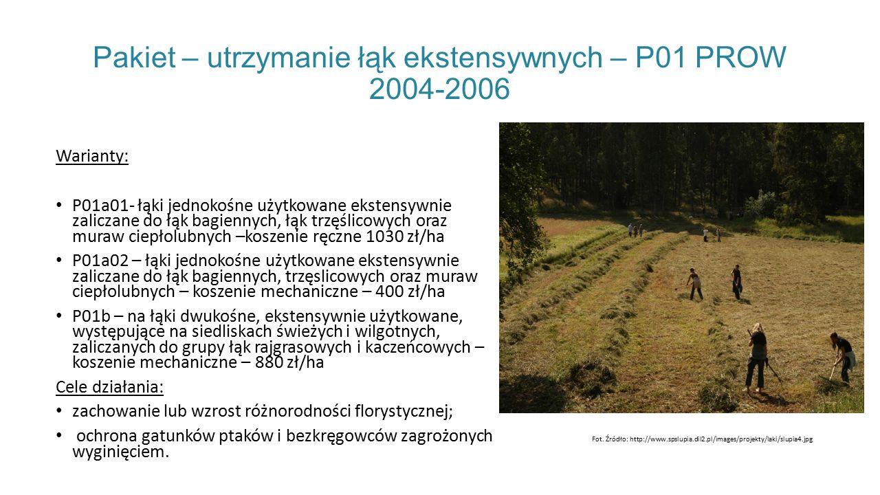 Pakiet – utrzymanie łąk ekstensywnych – P01 PROW 2004-2006